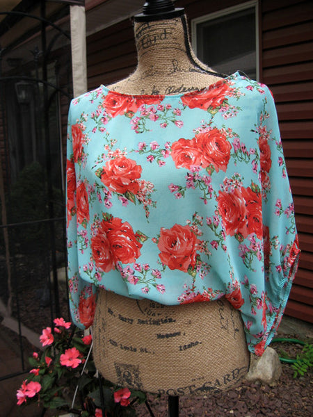 Mint & Chintz Rose Floral Sheer Balloon Tunic - Batyana Boutique  - 2