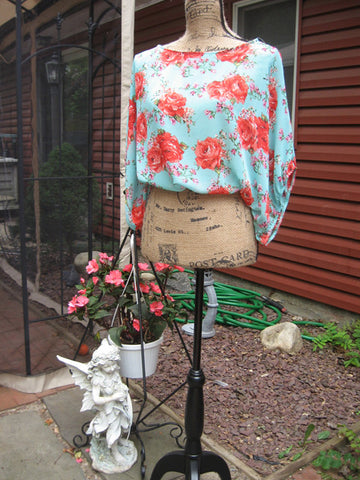 Mint & Chintz Rose Floral Sheer Balloon Tunic - Batyana Boutique  - 1