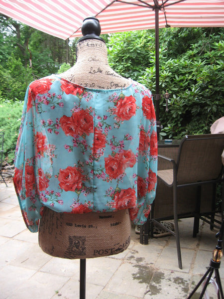 Mint & Chintz Rose Floral Sheer Balloon Tunic - Batyana Boutique  - 3