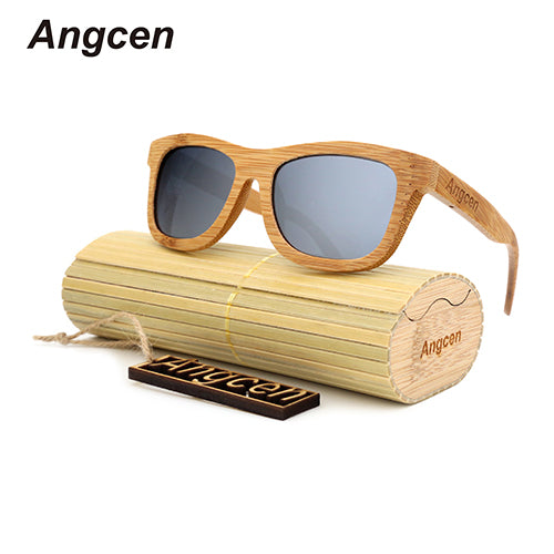 Angcen 2017 Men Women Glass Bamboo Sunglasses au Retro Vintage Wooden Frame Handmade ZA03