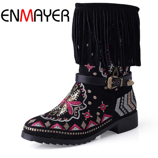 ENMAYER New Fashion Genuine Leather Boots Tassel Autumn Winter Boots with  Bohemia Ethnic Shoes boots for Women Snow Boots