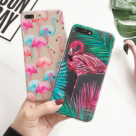 Animal Flamingo Phone Cases For iPhone 5 5S SE 6 6S 7 Plus Case Ultra thin Hard PC Transparent Plastic Cover