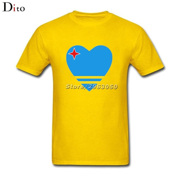 Aruba Flag Heart Tees Shirt Men Man's Screen Printing Short Sleeve Thanksgiving Day Custom Big Size Couple  Tshirt