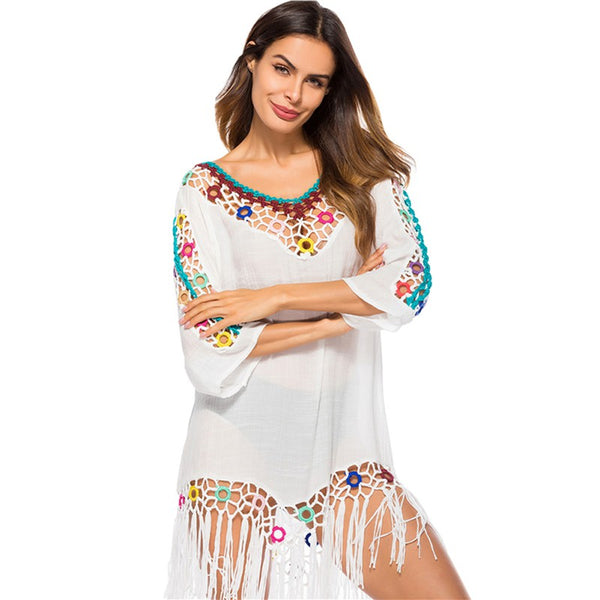 Indie Folk Women Beach Dress 2018 Hollow Tassel Pareo Beachwear Sarong Beach Wrap Cotton Tunic Summer Clothing Dress T6