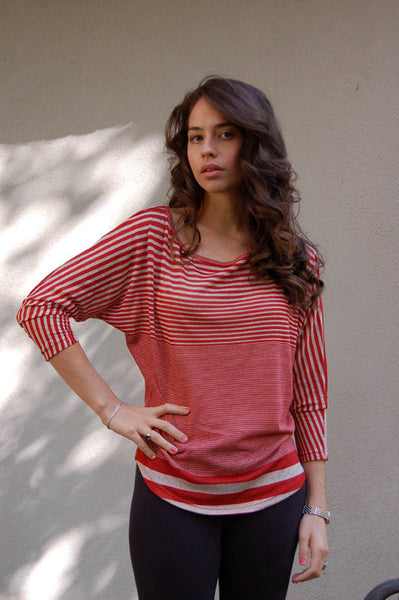 Woodleigh Off Shoulder Crochet Red Stripe Top with Camel Crochet - Batyana Boutique  - 1