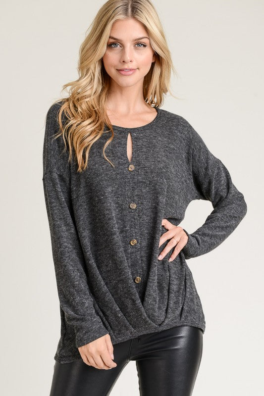 Pleated Hem Button Front - Charcoal