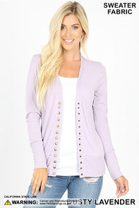 Snap Cardigan - Dusty Lavender