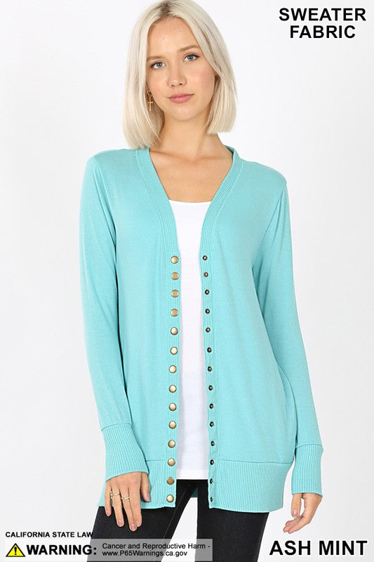 Snap Cardigan - Ash Mint
