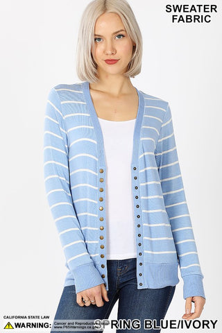 Striped Snap Cardigan - Spring Blue/Ivory