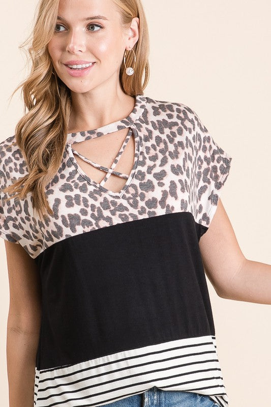 Criss Cross Colorblock Top
