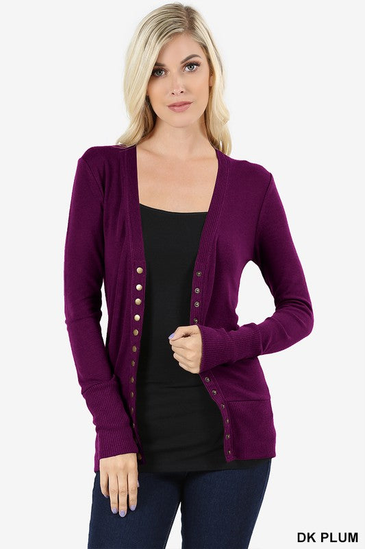 Snap Cardigan - Plum