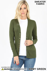 Snap Cardigan - Army Green