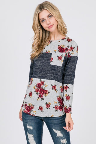Floral Colorblock Top w/Pocket