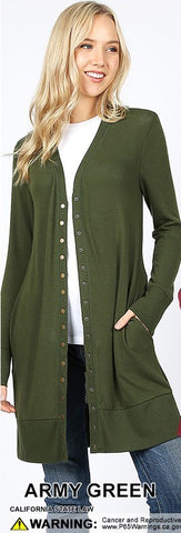 Long Snap Cardigan - Army Green