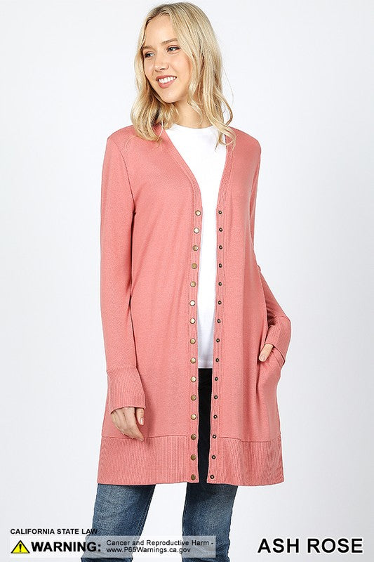 Long Snap Cardigan - Rose