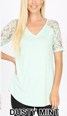 Lace Sleeve V-Neck - Dusty Mint