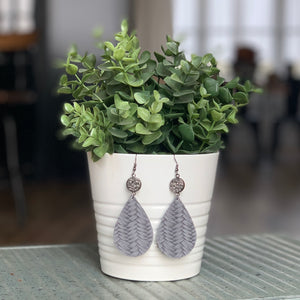 Grey Druzy Teardrop Earrings