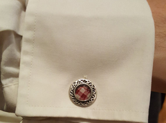 Sterling Silver Tartan Cuff-links