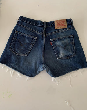 Vintage Dark Blue  Levi's 501 Denim Cut Off Shorts