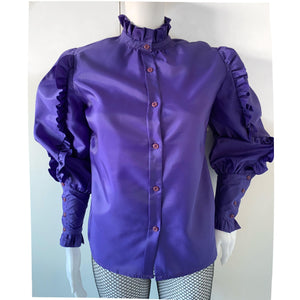 - ONE OF A KIND - Vintage 1970s Ruffle Victoriana Trim Blouse