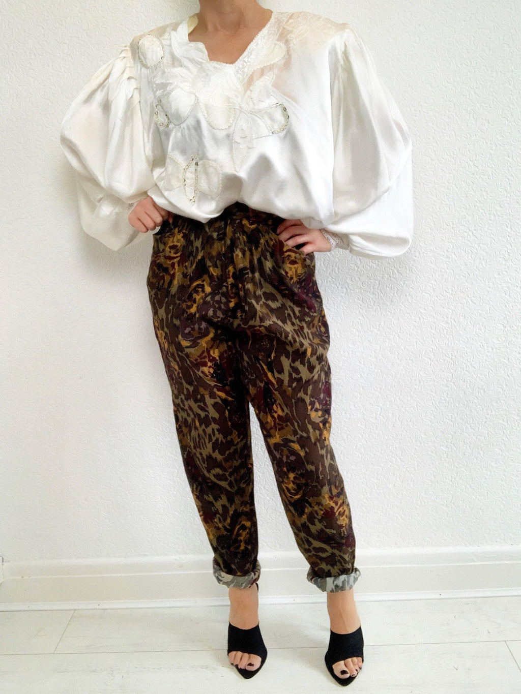 ONE OF A KIND - Vintage High Waist Tapered Animal Print Pants Trousers