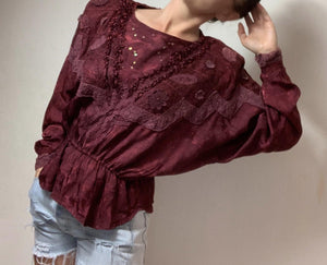 - ONE OF A KIND - Vintage 1980s Burgandy Yoke  Statement Top
