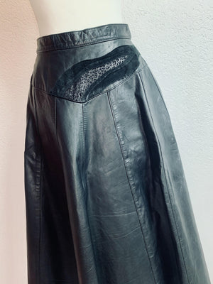 - ONE OF A KIND - Vintage 1970s Leather Calf Length  Skirt