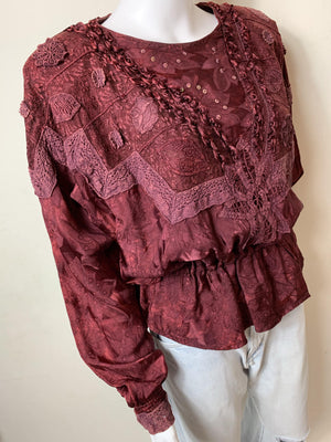- ONE OF A KIND - Vintage 1980s Burgandy Batwing  Statement Top sale