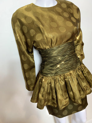 - ONE OF A KIND - VIntage 1980s Korean Silk and Gold Lame Cocktail Dress