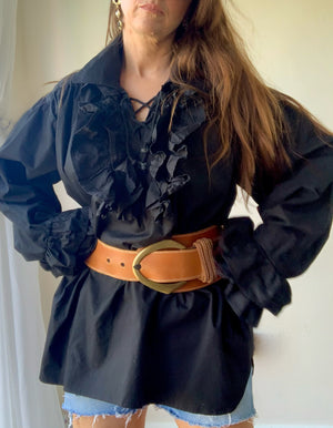 Vintage 1970: Cotton Ruffle Frill Hungarian Oversized Tunic