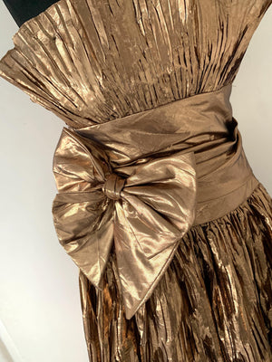 - ONE OF A KIND - VIntage 1980s Rose Gold Silk Lame Cocktail Dress
