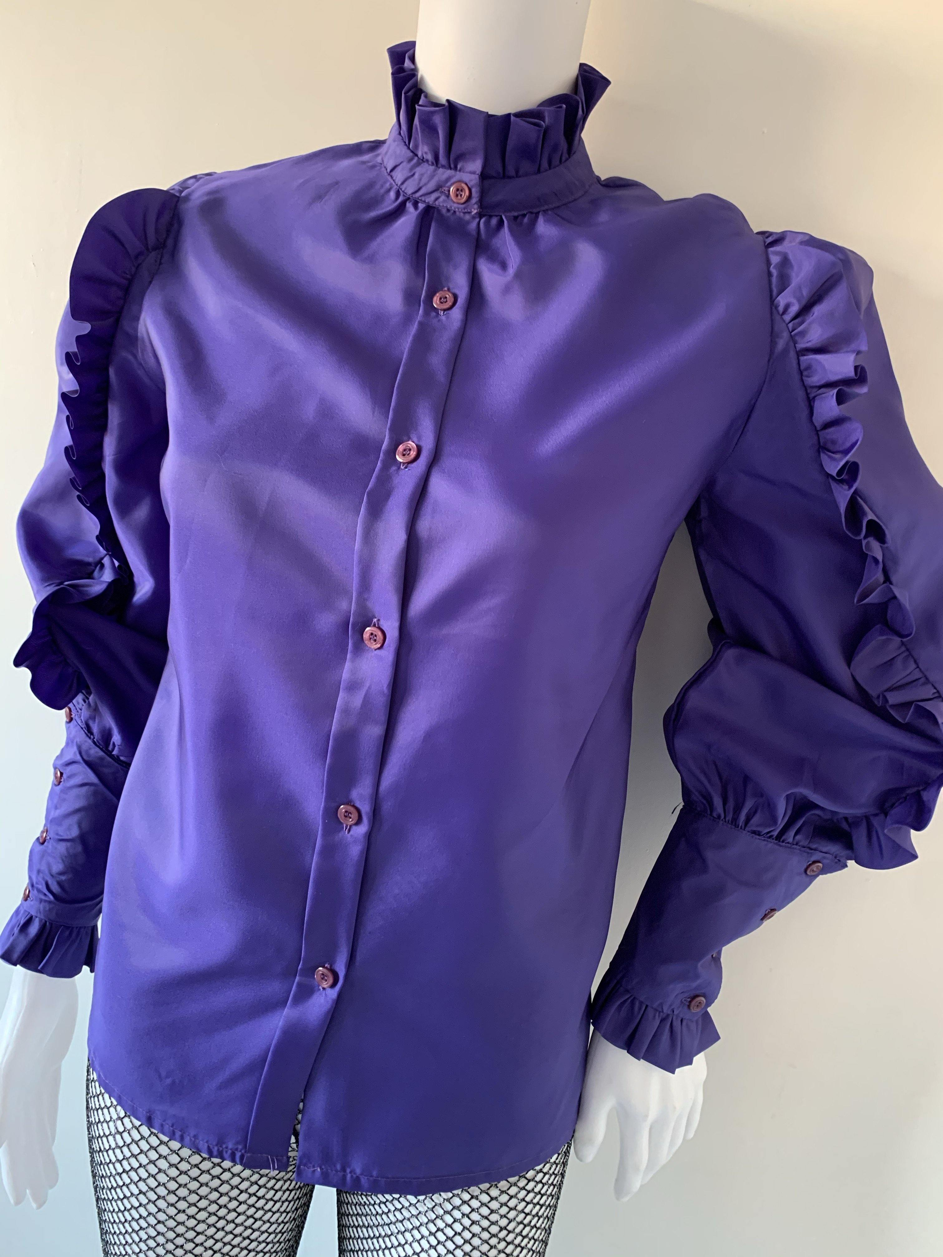 - ONE OF A KIND - Vintage 1970s Ruffle Victoriana Trim Blouse - Overdress Vintage