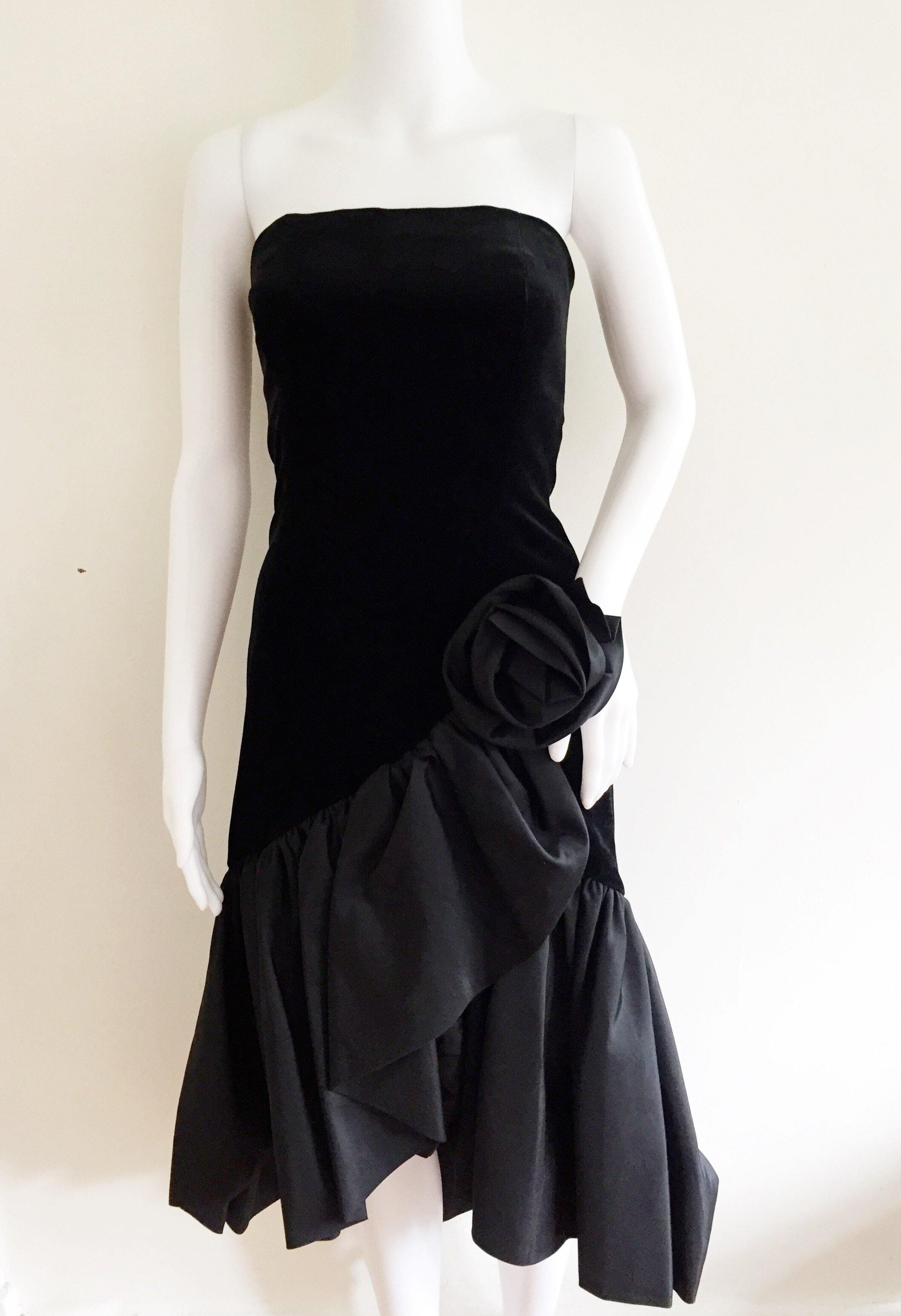 Vintage Black Travilla Velvet and Taffeta Dress