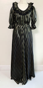 Vintage 1970s Black and Silver Taffeta Maxi Frill Gown Dress