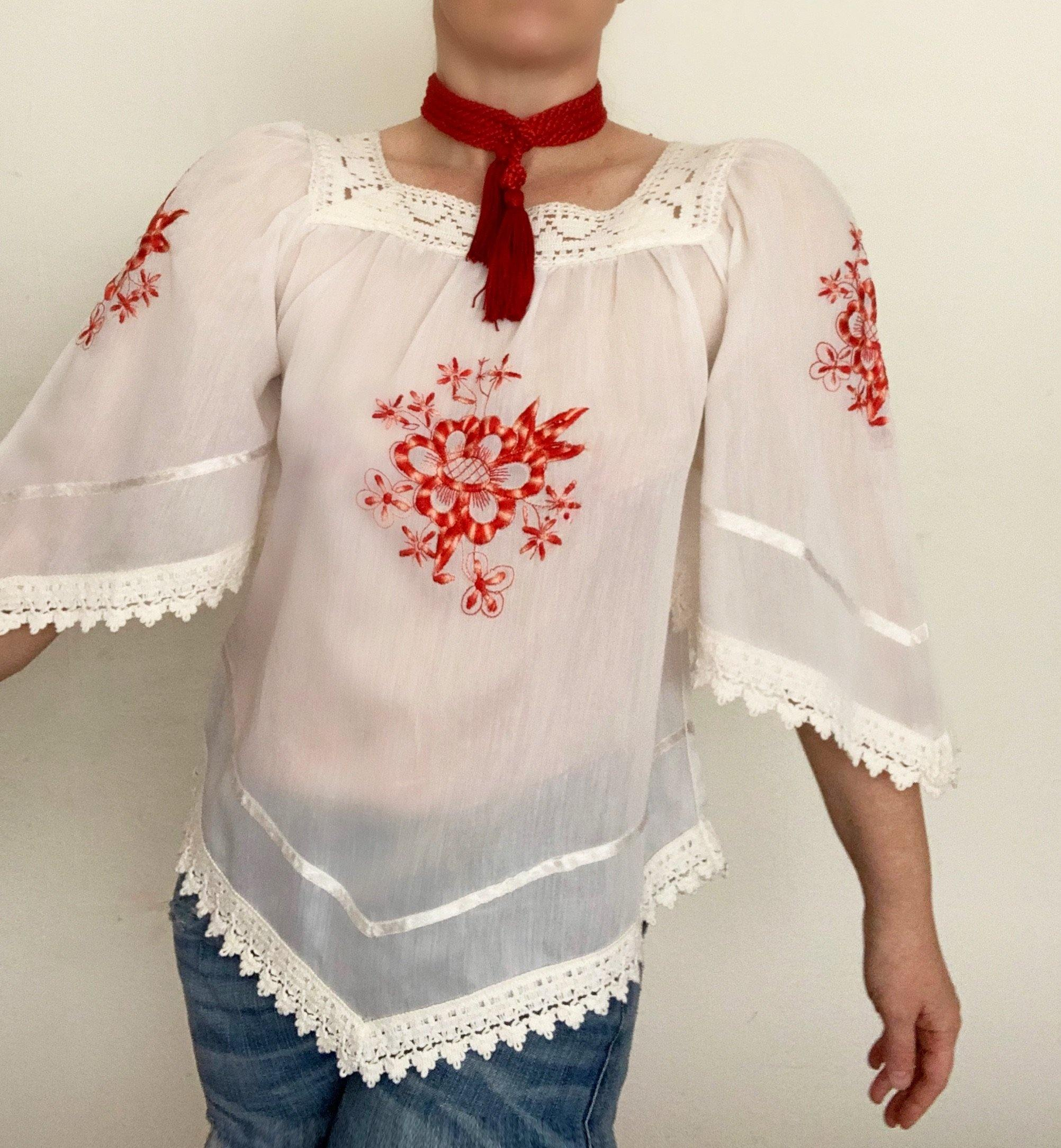- ONE OF A VINTAGE KIND 1970s's Hungarian Red Embroidered Tunic Sale