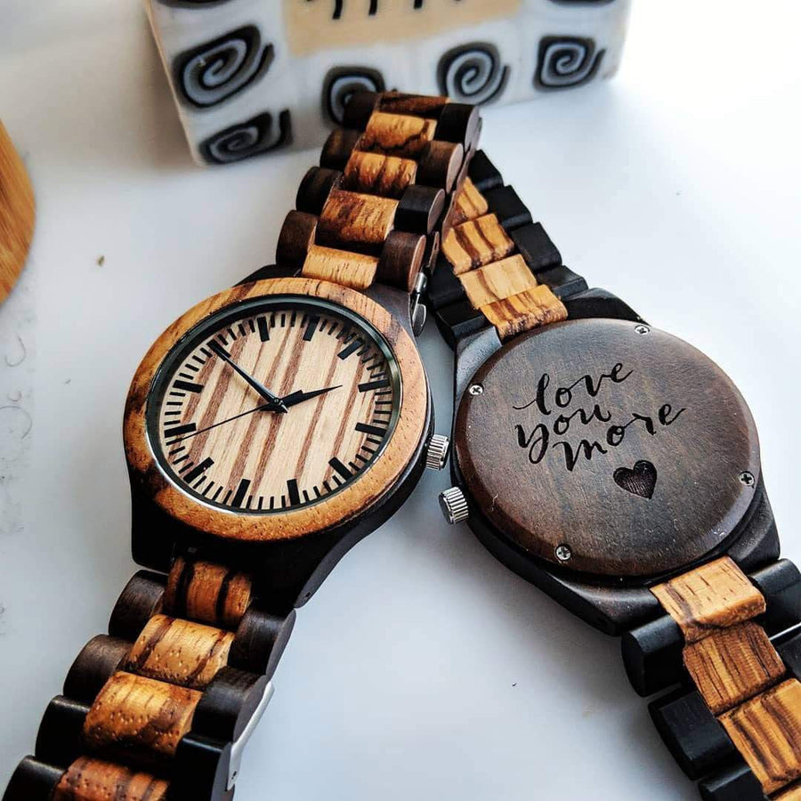 engraved wooden watch with engraving front view