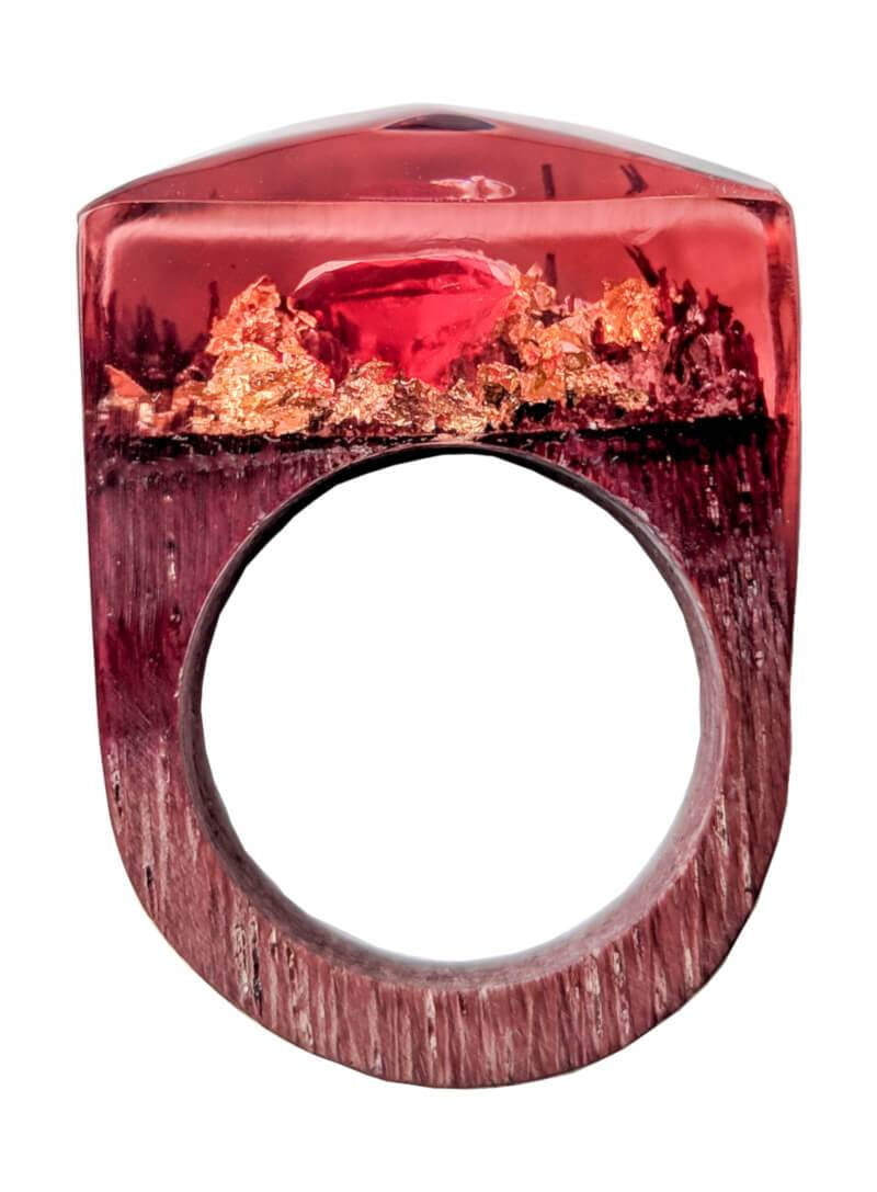 Wooden Resin Ring - Amber - Dusty Saw