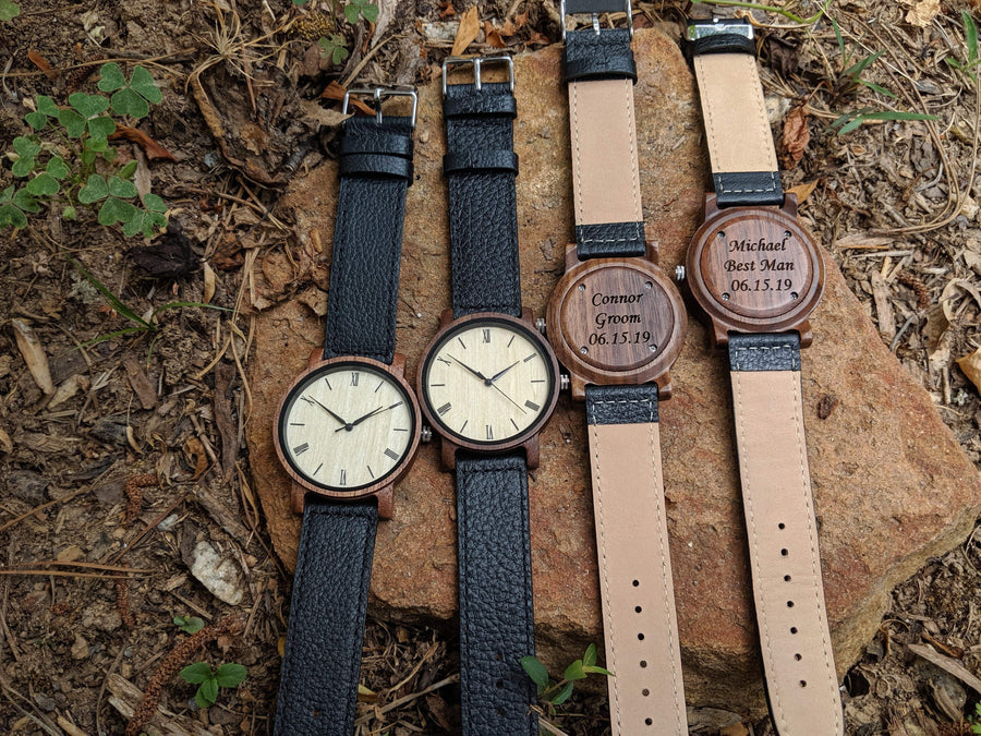 Groomsmen Set Of 11 Wooden Watches Walnut Arce - Dusty Saw