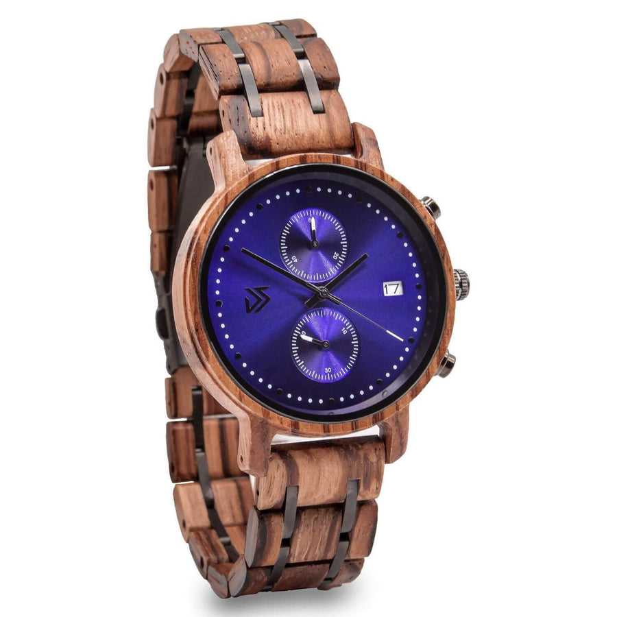 wooden watch zebra chrono