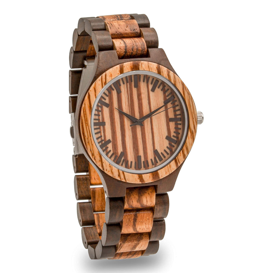 wood watch engraved zebrawood exito