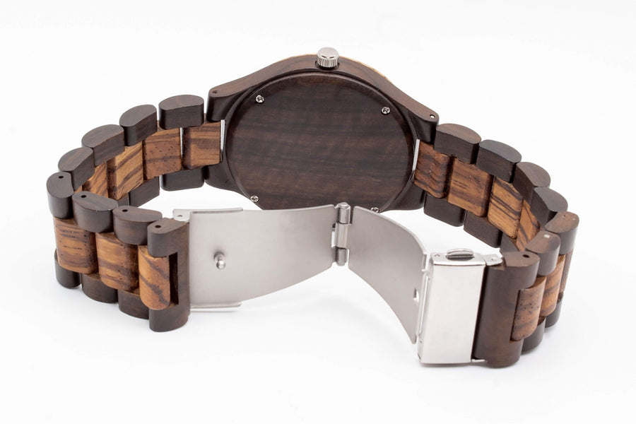 engraved wooden watch exito back view