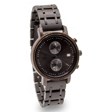 wooden watch black positivo