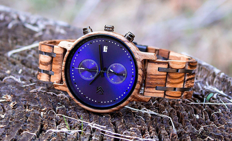 Wooden Watch  | Azul - Dusty Saw
