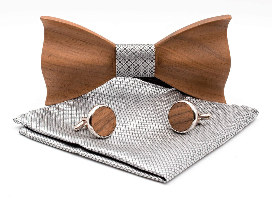 Classic Wooden Bow Tie & Cufflinks - Dusty Saw