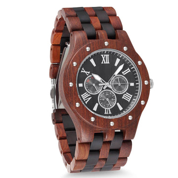 Wooden Watch All Wood Band Red Black Chrono Dusty Saw