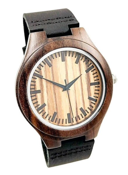 The Dusty Saw Wooden Watch Wooden Watch Black Leather Band - Caliente