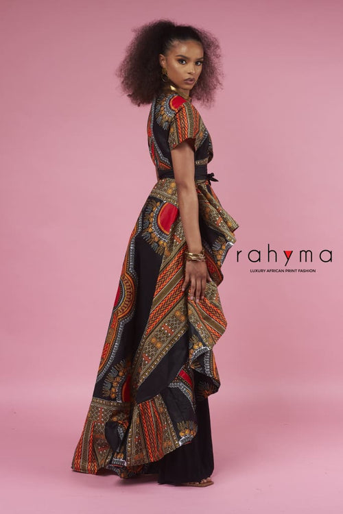 Black dashiki water fall blouse - Rahyma
