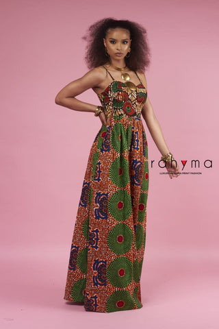 Neyo Green shade Pleated Dress| African Print dress
