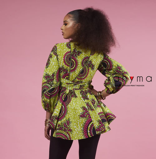 Lemon Wrap Blouse - Rahyma