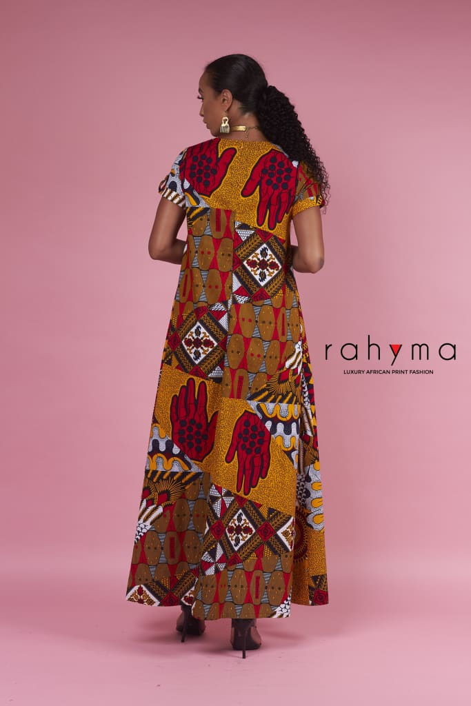 Mixed Print Kaftan Dress - Rahyma